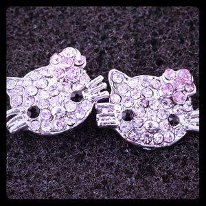Silver CZ Hello Kitty Earrings Nickel Free